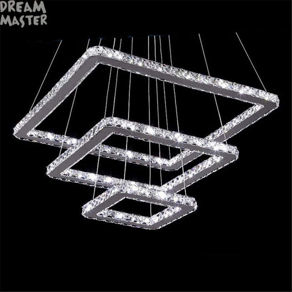 3 rings square led chandelier K9 Crystal LED hanging lighting 3 squares design110V 220V stainless steel home lighting fixture