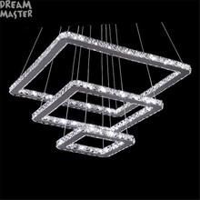 3 rings square led chandelier K9 Crystal LED hanging lighting 3 squares design110V 220V stainless steel home lighting fixture cheap DREAM MASTER Wedge None 90-260V 120V 110-240V 230V 130V Polished Steel ABC-LED-003 ROHS Semiflush Mount Chandeliers 1 Year