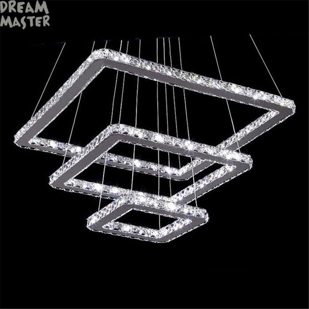 3 rings square led chandelier K9 Crystal LED hanging lighting 3 squares design110V 220V stainless steel home lighting fixture цена