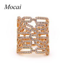 Mocai Vintage Plated Hollow Wide Punk Party Finger Rings Luxury Cubic Zirconia Micro Setting Stunning Jewelry Accessory zk50