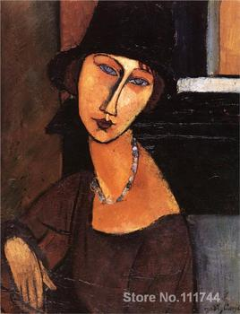 Modern art lady Jeanne Hebuterne with Hat and Necklace by Amedeo Modigliani paintings reproduction High quality Hand painted image