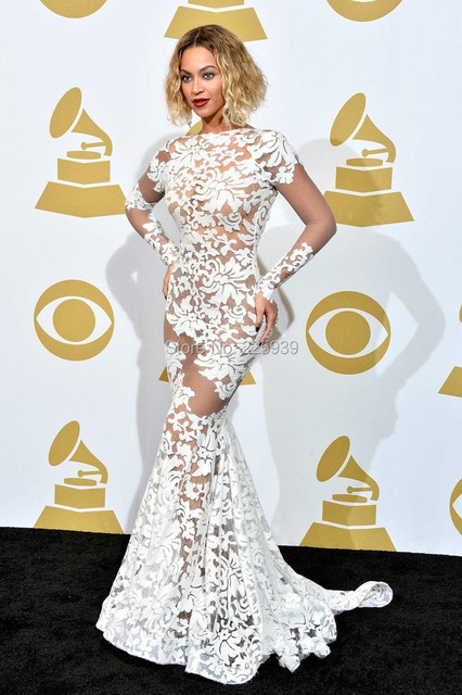 Elegant Beyonce O Neck Long Sleeves Nice Appliques Nude Lining Open Back Elegant Maxi Long Mermaid White Evening Dresses Gowns