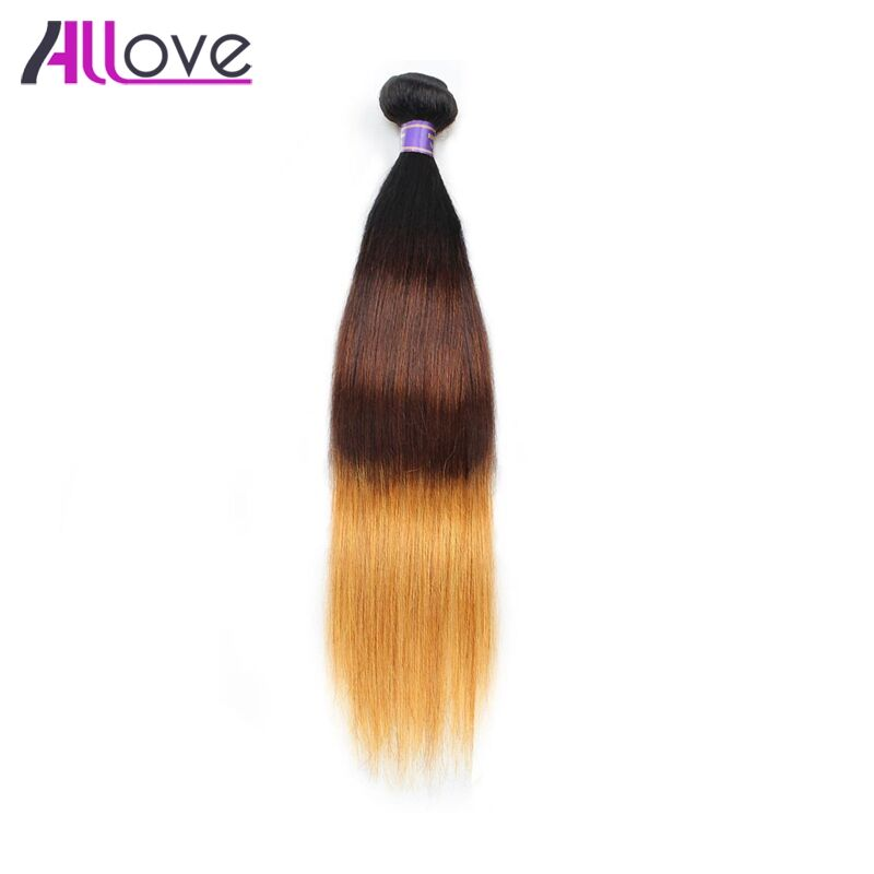 Allove 3 Tone Ombre Brazilian Straight Hair 1Pc T1B/4/30 100% Remy Hair Weave Bundles 10-28 Free Shipping Human Hair Extensions