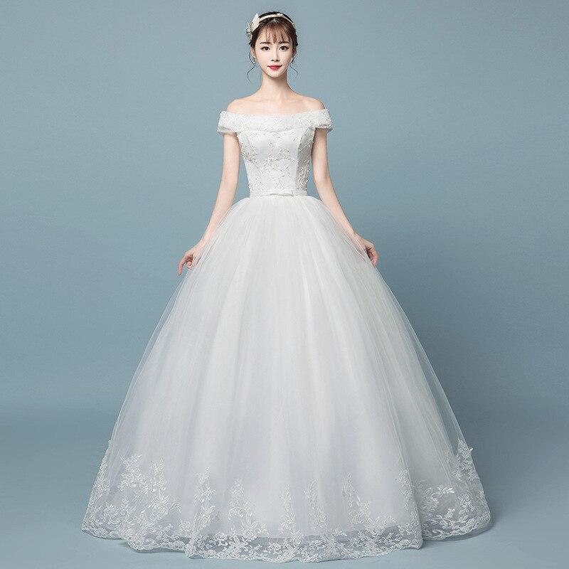 Новый дизайн бальное платье с горловиной лодочка vestidos de novia винтажные шелковистая органза с открытыми плечами Свадебные платья с вышивкой б