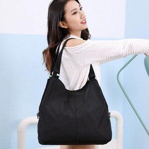 Image 5 - Gorące torebki damskie na co dzień bardzo duże torby na ramię Nylon Tote znane marki fioletowe torebki mumia torby na zakupy wodoodporne bolsas czarne