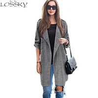 2017 Big Yard Autumn Blazers Larger Size Women Coats Long Jackets Casual Spring Suit Cardigan Dark