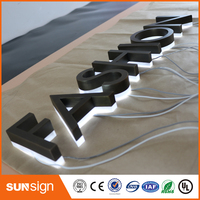 Factory Outlet Outdoor stainless steel LED 3d letter sign logo BACKLIT stainless steel acrylic lighting up 3d led letter sign
