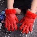 Натуральная Кожа Перчатки для 4-8 летних Детей Зима Теплая Шерсть Мех Перчатки Minttens Натуральной Овчины Перчатки для Детей