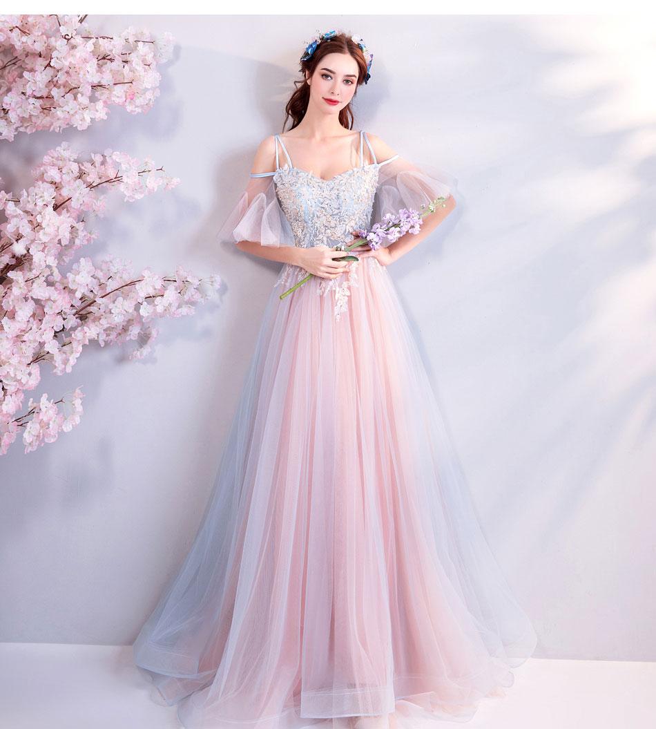 Elegant Off The Shoulder Tulle Long Bridesmaid Dress 6