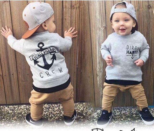 870f29701b8ed4 Pasgeboren Baby Jongens Kleding Lange Mouw Sweatshirt Top + Pant 2 stks  Outfit Peuter Kids Kleding