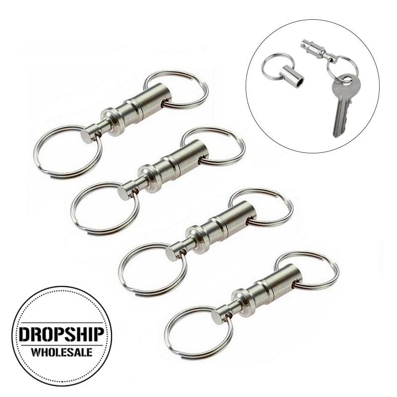 4pcs / lot פעמיים ראש ניתוק מפתח טבעת EDC - קמפינג וטיולים