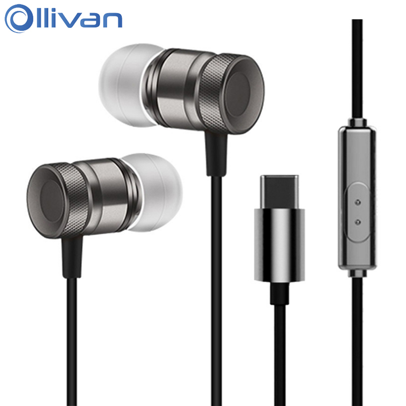 Ollivan Type C Earphone Metal Earbuds In Ear Earphones For LeEco Le 2/Max/Pro Super Bass Headsets With Mic For Type-c Phones ipsdi hf208 earphones dre dre earphone go pro earphone little audifonos girl earbuds with mic