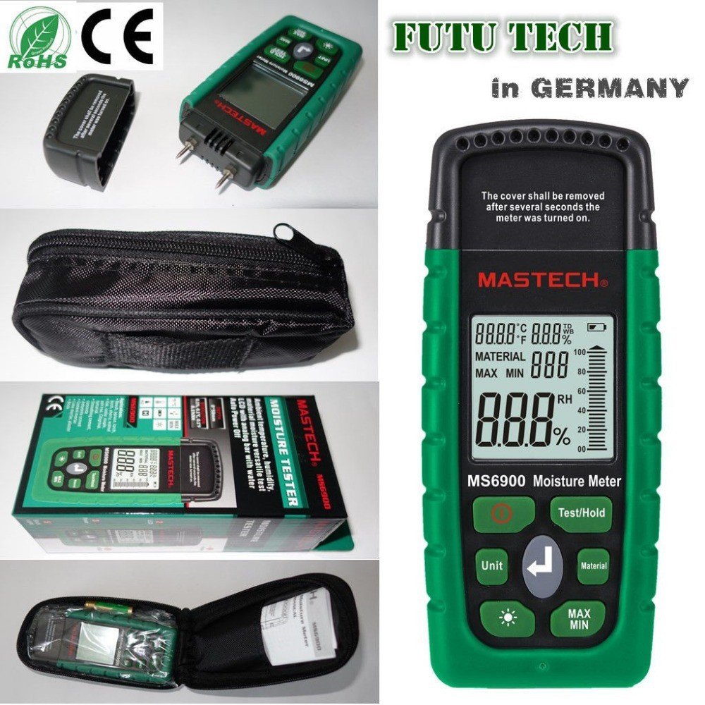 Mastech MS6900 Portable Digital Timber Wood Moisture Meter LCD Hygrometer Temperature meter Humidity Meter Tester pilsan rainbow