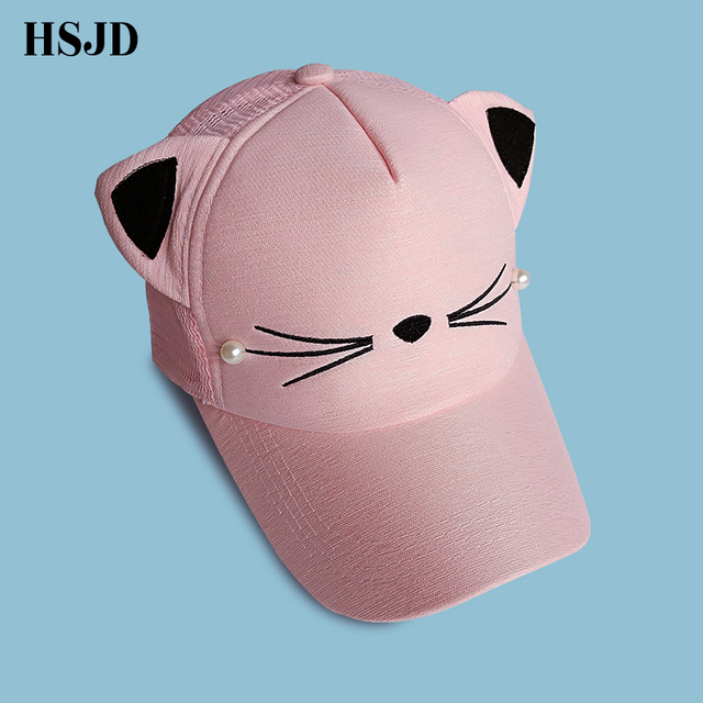 1a05628b134 cute cat ears adult net cap girl cartoon baseball cap adjustable pink  snapback women hip hop hat summer brand adult mesh cap