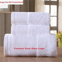 Custom Luxury Logo 100 Egypt Cotten 3PCS Set Bath Face Hand Towels Thickened Hotel Large White