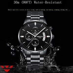 Image 4 - גברים שעון NIBOSI הכרונוגרף ספורט Mens שעונים למעלה מותג יוקרה עמיד למים קוורץ שעון גברים זהב שעון גברים Relogio Masculino