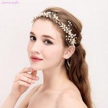 Jonnafe Boho Gold Headband Bridal Tiara Hair Vine Pearls Wedding Jewelry Women Headpiece Hair Accessories