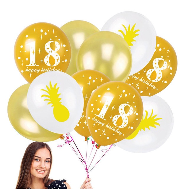 10pcs Pineapple Leaf Pearl Latex Balloons For 18 Years Old Happy Birthday Boys Girls 18th Party Anniversary Decorations