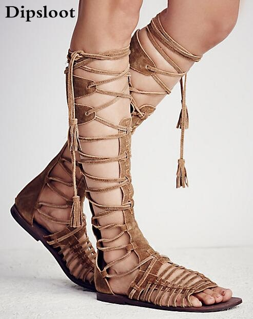 New 2017 Women Flat Gladiator Knee High Boots Suede Leather High Quality Sandal Boots Lace Up Sexy Summer Bohemia Ladies Boots недорого