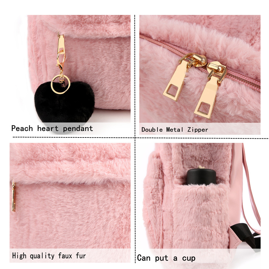 Moon Wood Faux Fur Rucksack - Pink, White or Black 3