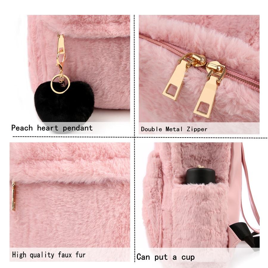 Moon Wood Faux Fur Rucksack - Pink, White or Black 3