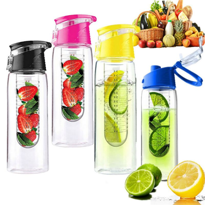 Hot Sale 800ml Portable Sport Water Bottle For Lemon Juice Water Tea Flip Lid Fruit Infuser Infusing image