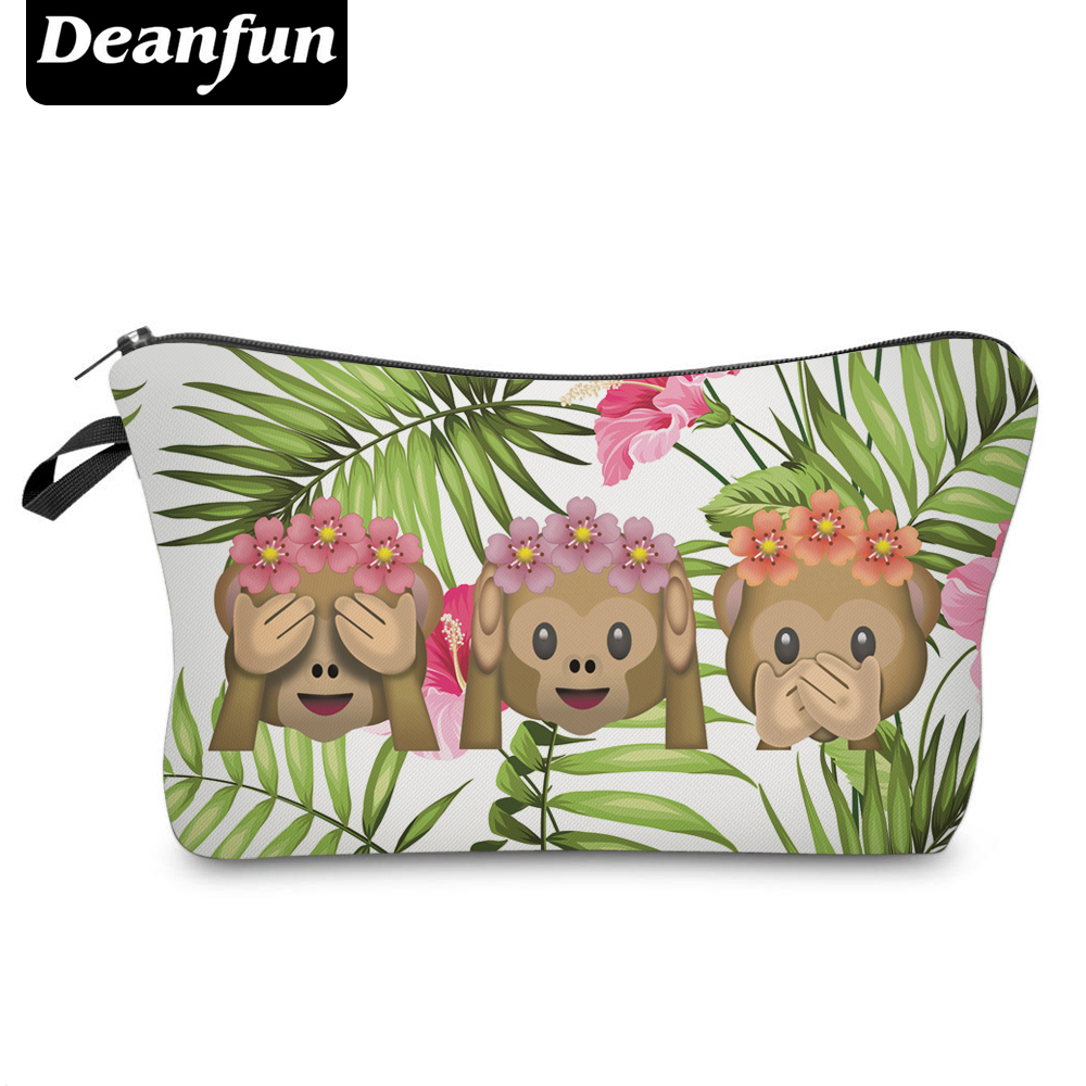 Deanfun 3D Printed Emoji Cosmetic Bags Flower Organizer Women Toiletry Necessaries For Travelling 50871