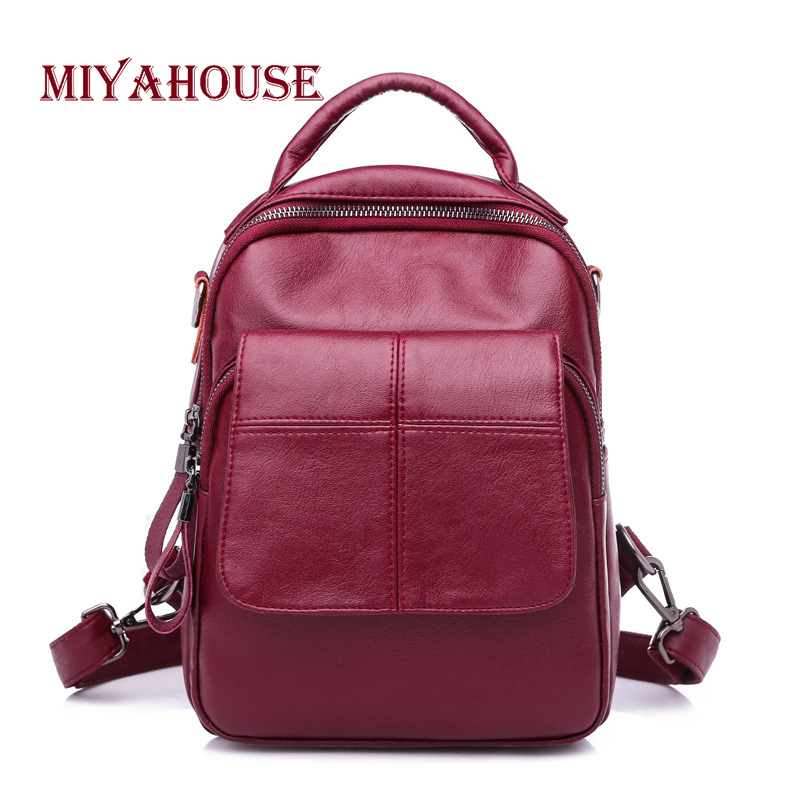 Miyahouse New Design Women Backpacks Soft PU Leather Fashion Backpack Female European Simple Shoulder School Bags For Teenager