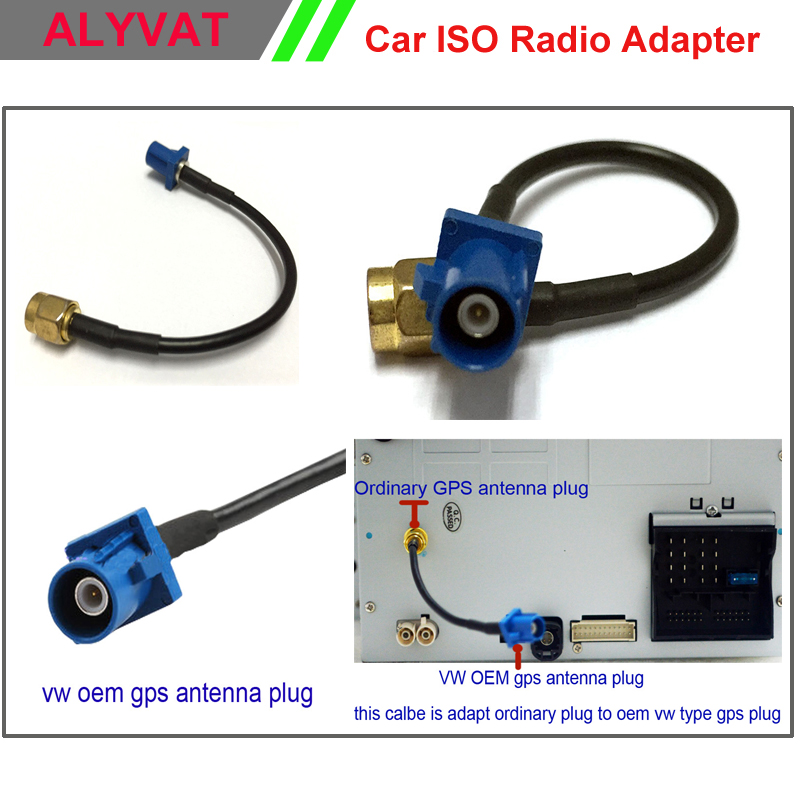 Free Shipping GPS antenna Fakra Adapter Shark Buchse for VW Seat Benz ford car dvd player cable