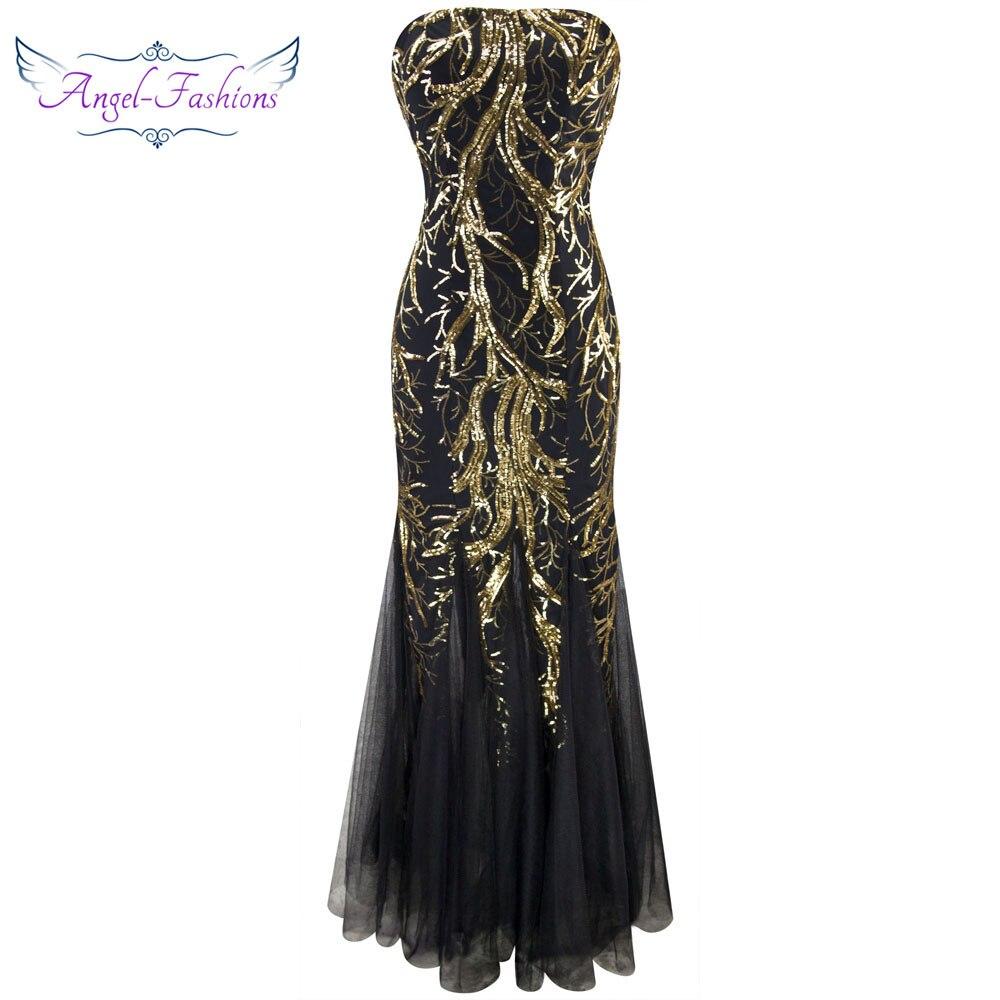 Angel-fashions Bretelles D'or Branche Paillettes Sirène Pleine Longueur Robe De Soirée 101