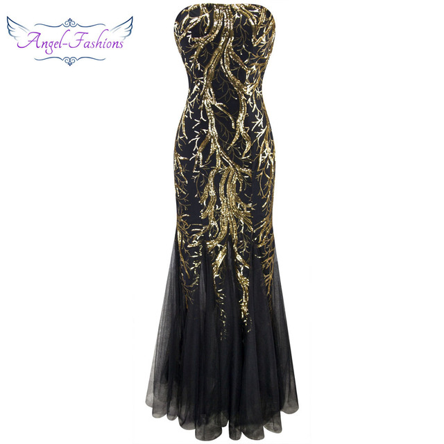 Angel-fashions New  Strapless Golden  Branch Sequined  Mermaid Full Length Evening Dress 101