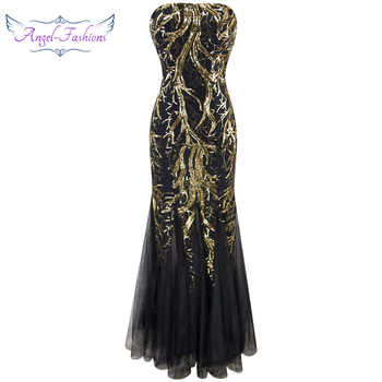 Angel-fashions Strapless Golden Branch Sequined  Mermaid Full Length Evening Dress 101 - DISCOUNT ITEM  15% OFF All Category