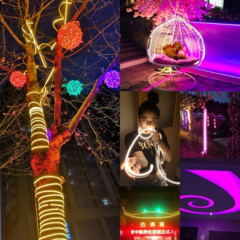Image 3 - Led ストリップライト 220 v SMD2835 120led/m  防水柔軟な妖精屋外家のクリスマスフェスティバル装飾照明ストリップ    グループ上の ライト