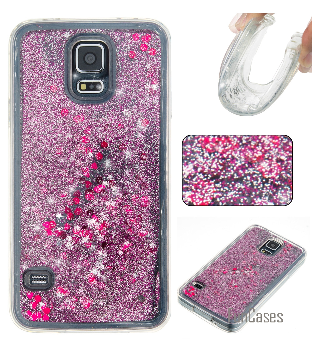 Etui Bling Love Heart Star Soft TPU Phone Case Cover For Samsung Galaxy S5 S6 S7 Edge Funda Quicksand Cell Phone Case For Galaxy