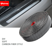 Car Protective Film Auto Roll Bumper Lip Protector Moulding Strip Self Adhesive Carbon Fiber Stickers For Ford Focus Accessories
