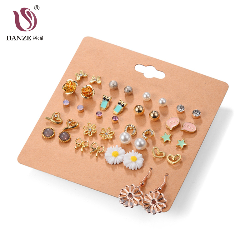 DANZE New 20 Pairs/Set Charm Crystals Stud Earrings Set For Women Girls Heart Pearls