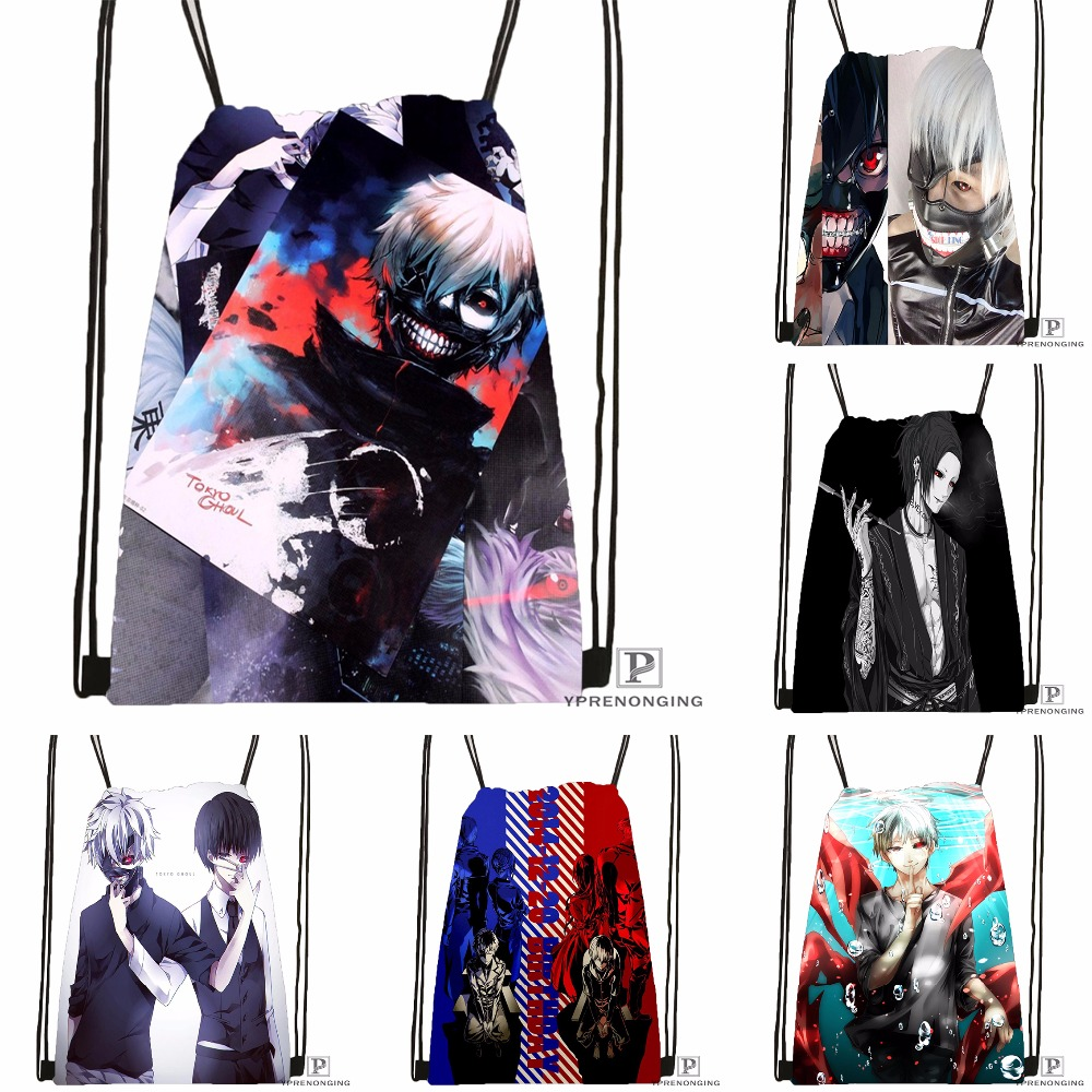 Custom Tokyo Ghoul Drawstring Backpack Bag Cute Daypack Kids Satchel (Black Back) 31x40cm#180531-03-62