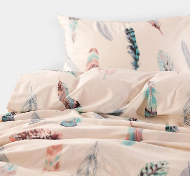 Delightful Colorful Feather Bedding Set King Size Queen Full Double Pink Bed Sheets  Quilt Duvet Cover Bedspread Linen Cotton Bedsheet Plume In Bedding Sets  From Home ...
