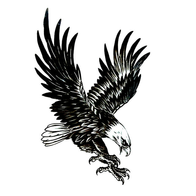 US $0 75 |Bald Eagle Temporary Tattoo Sticker Totem Body Art Design Also  for Men Women Cup Glasses Laptop Phone Bike Decoration-in Temporary Tattoos