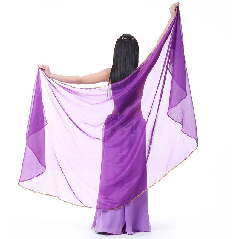 2017 Stage Performance Belly Dance Scarf Sjal Ljustextur Halvcirkelslöjor Professional Women Belly Dance Veil Chiffon