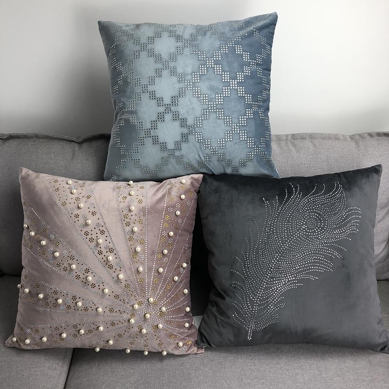 Velvet Cushion, Diamond Pearl Fashion Simple, Quality Soft Pillowcase, Suitable For Home Party Festival Car Chair Decoration