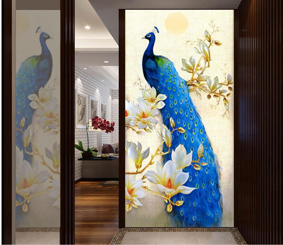 3d Wallpaper For Room Blue Peacock Magnolia Entrance