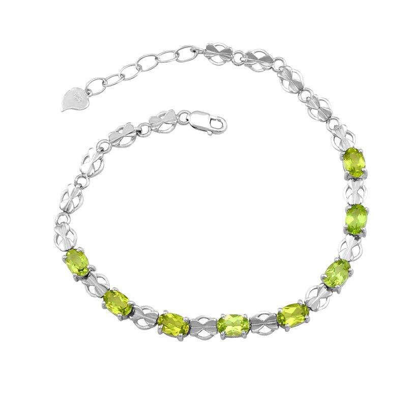 Péridot naturel Bracelet 925 en argent Sterling femme Fine élégante gemme verte bijoux fille pierre de naissance Valentine cadeau sb0007p