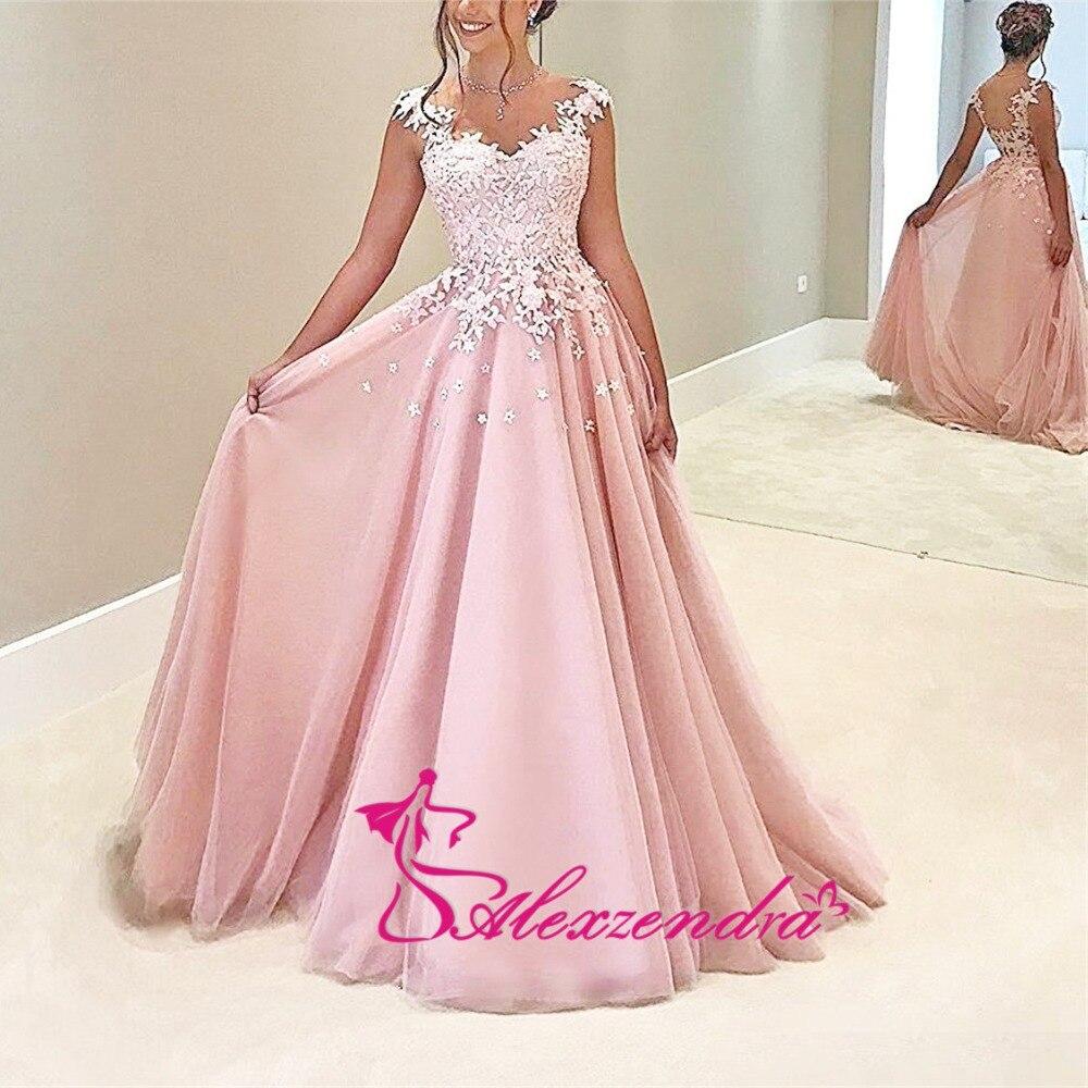 Alexzendra rose Tulle robes de bal encolure dégagée Illusion retour soirée robes de grande taille robe de soirée femmes - 4