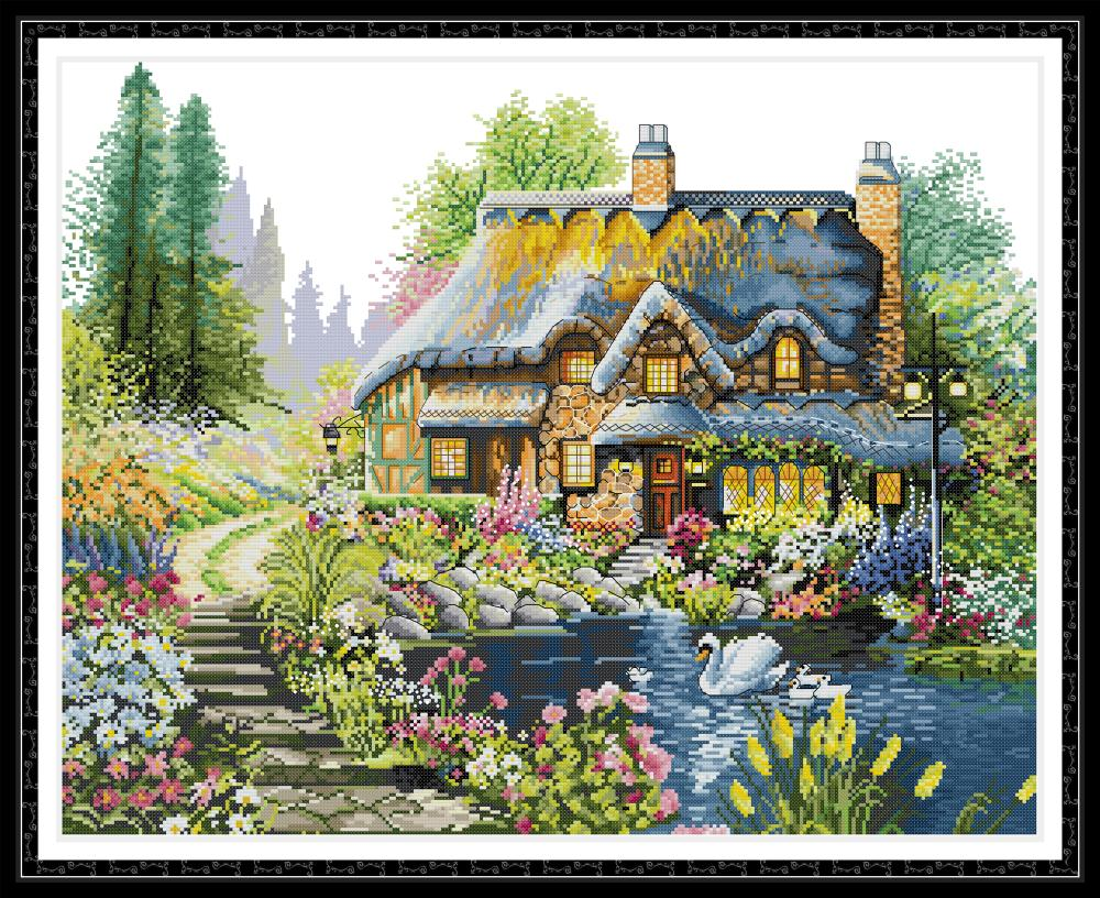 Villa In The Forest 2 Cross Stitch Kit Aida 14ct 11ct Count Print Canvas Cross Stitches   Needlework Embroidery DIY Handmade