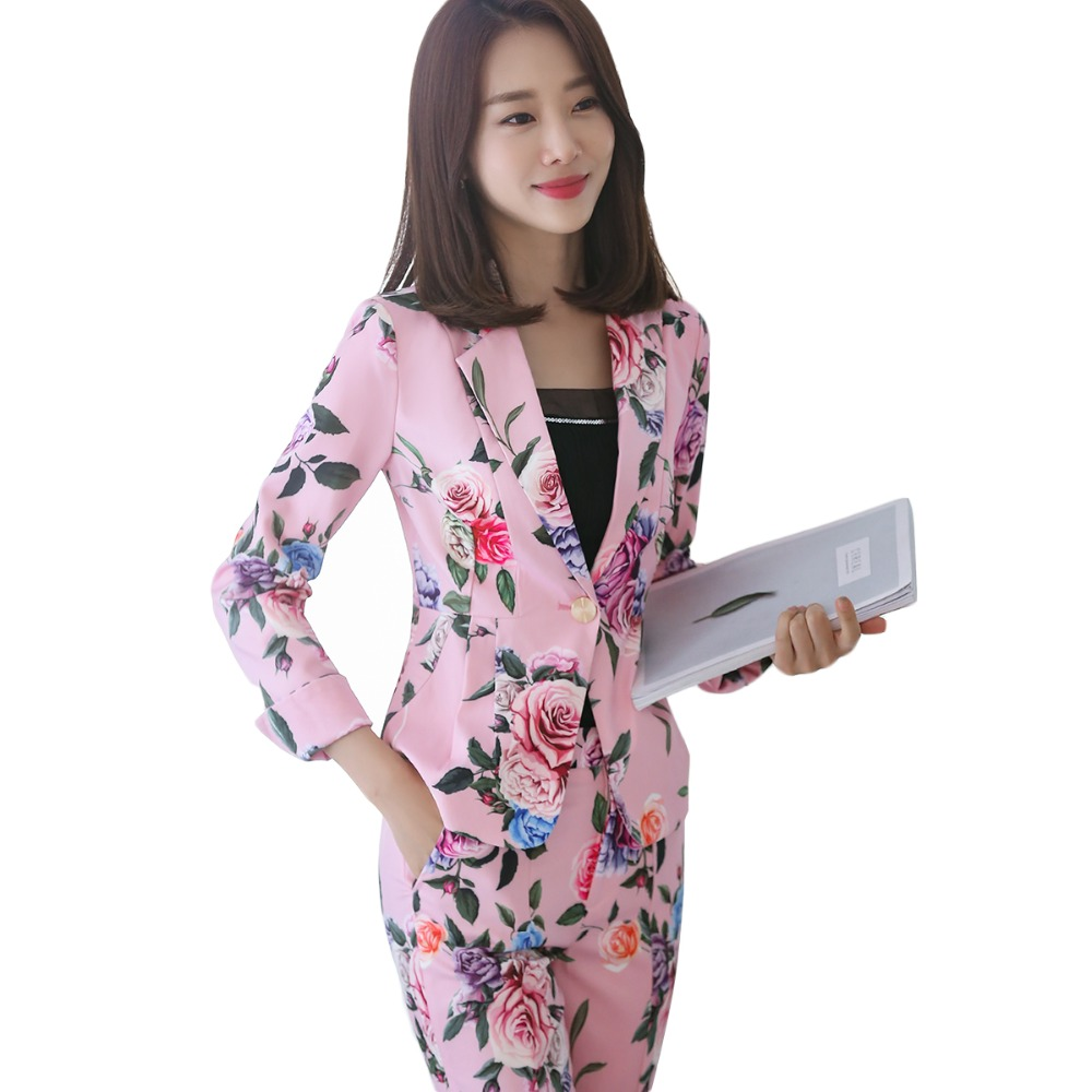 2018 New formal office work blazer suits OL women flower blazers and jackets black pink long