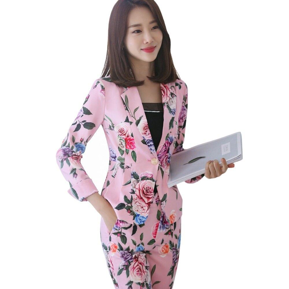 2018 새로운 공식적인 사무 작업 블레 이저 정장 ol 여성 꽃 블레 이저 및 재킷 블랙 핑크 긴 소매 중국 스타일 바지 정장-에서바지 슈트부터 여성 의류 의  그룹 1