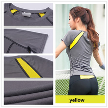 3 color 2016 Women's Yoga Gym T shirt Compression Tights Jersey Sport T-shirts Dry Quick Running Short Sleeve Fitness Clothes