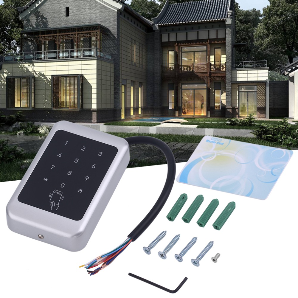 256 Khz 12V DC RFID Door Reader Mini Keypad Proximity ID Access Control System EM4100/TK4100 Card Access Control Door Opener dc 12v single door entry access control keypad rfid card reader access control can connect with weigand 26 rfid reader