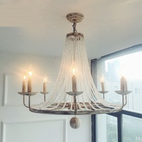 Vintage Iron 5 6 8heads Pendant Lamps Living Room Dining Room Garden Bedroom Study French Crystal